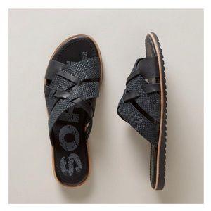 Sorel Ella Snake Embossed Black Leather Slides